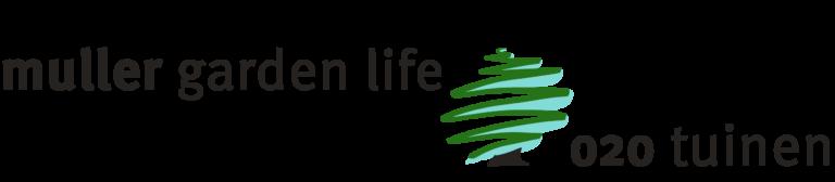 Gecombineerd logo van Muller Garden Life en 020 Tuinen
